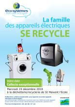 Collecte des appareils électriques lors de la vente de la recyclerie